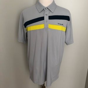 Travis Mathew stripe short sleeve polo golf shirt
